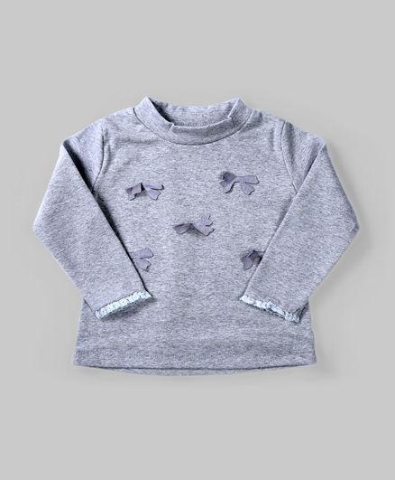 Gray Floral Applique Top