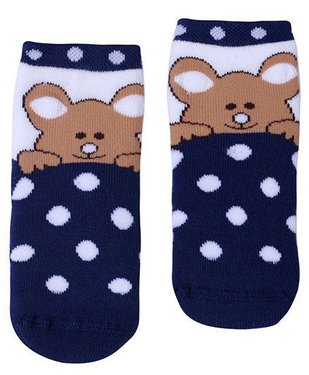 Mustang Ankle Length Socks Navy Blue - Teddy Print