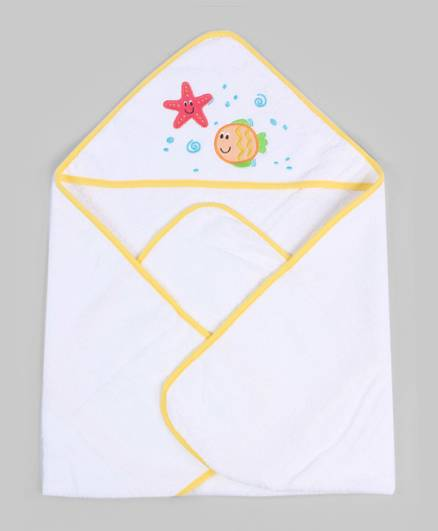 White & Yellow Hooded Towel With Wash Cloth