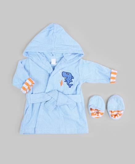 Blue Aqua Theme Bath Robe and Slippers