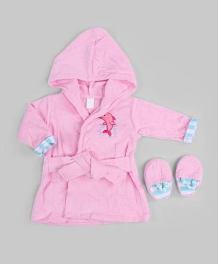 Pink Aqua Theme Bath Robe and Slippers