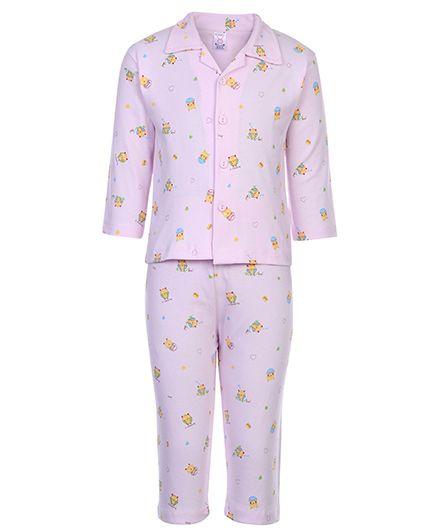 Pink Rabbit Full Sleeves Night Suit - Cute Love Print
