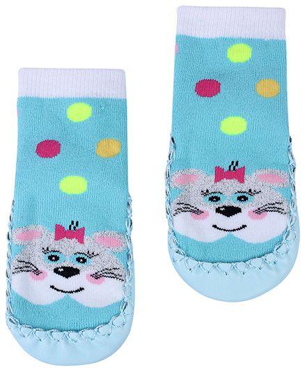 Babyhug Bootie Style Socks Aqua Blue - Rabbit Face