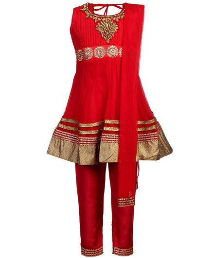 Babyhug Sleeveless Kurta Churidar And Dupatta - Stone Work