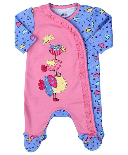 FS Mini Klub Footed Romper Style Sleep Suit - Blue And Pink