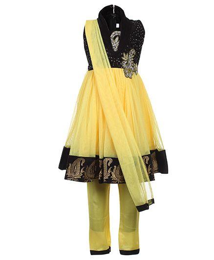 Babyhug Sleeveless Kurta And Churidar With Dupatta Sequin Work - Yellow