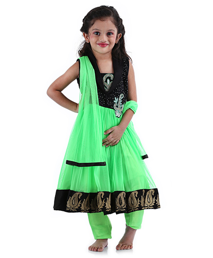 Babyhug Sleeveless Kurta And Churidar With Dupatta Sequin Work - Green