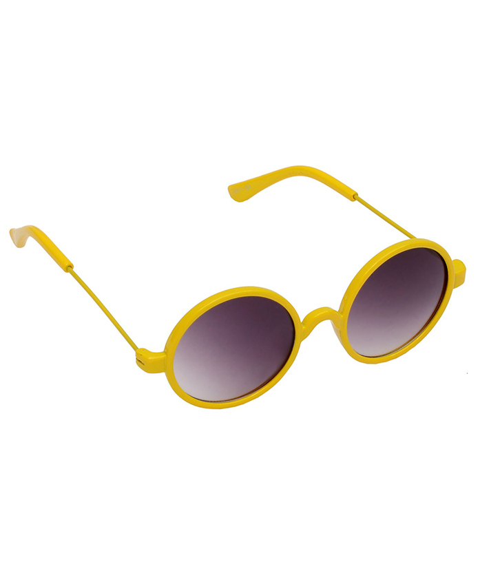 Spiky Round Sunglasses - Yellow And Black - Free Size