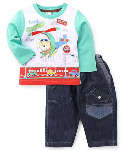 Cucumber Full Sleeves T-Shirt And Denim Green - Helicopter Print