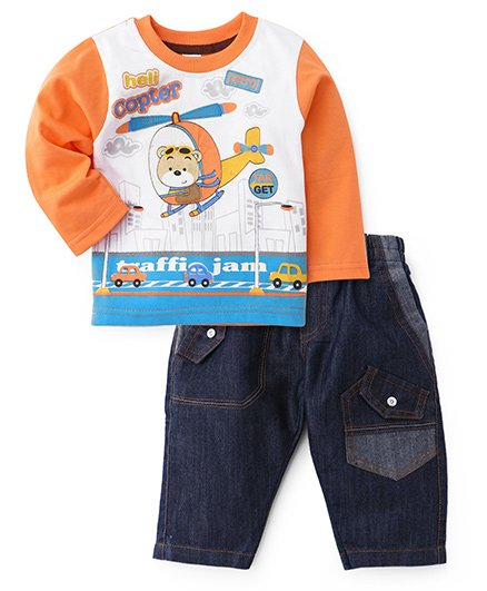Cucumber Full Sleeves T-Shirt And Denim Orange - Helicopter Print