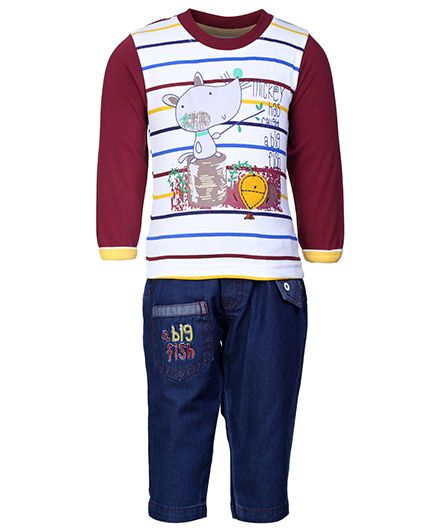 Cucumber Full Sleeves T-Shirt And Denim Pant - Maroon