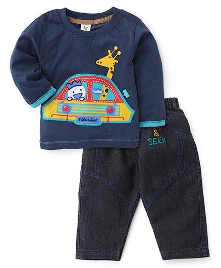 Cucumber Full Sleeves T-Shirt And Denim Pant - Navy