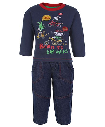 Cucumber Full Sleeves Top And Jeans Set - Born To Be Wild Print