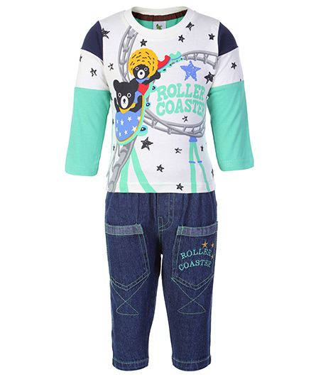 Cucumber Full Sleeves Top And Jeans Set - Roller Coaster Print