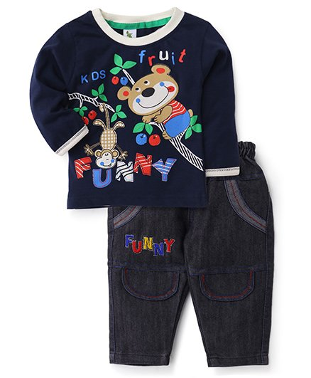 Cucumber Full Sleeves Top And Jeans Set - Kids Fruit Print