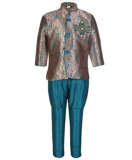 Babyhug Full Sleeves Kurta And Jodhpuri Pajama - Self Pattern