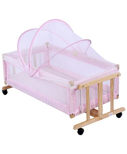 Fab N Funky Baby Cradle With Mosquito Net - Pink