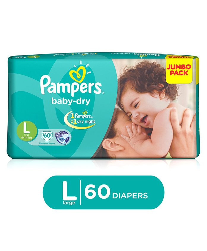 Pampers Baby Dry Diaper Large - 60 Pieces