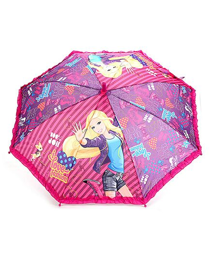 Barbie Kids Umbrella Multi Print - Dark Pink