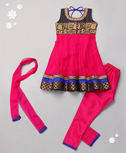 Babyhug Sleeveless Kurta And Churidar With Dupatta - Embroidery
