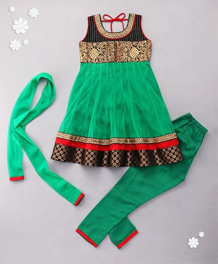 Babyhug Sleeveless Kurta And Churidar With Dupatta - Green