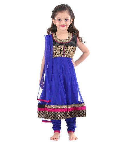 Babyhug Sleeveless Kurta And Churidar With Dupatta - Royal Blue