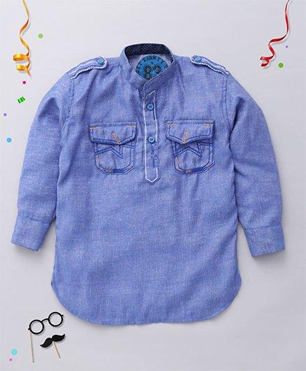 Tippy Full Sleeves Kurta - Royal Blue