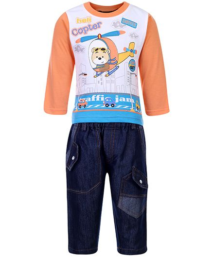 Cucumber Full Sleeves T-Shirt And Jeans Set - Heli Copter Print