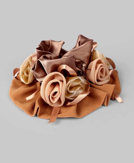 Peach & Brown Rosette Ponytail Band