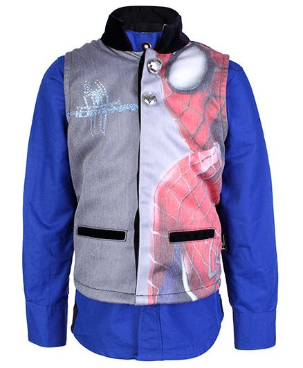 Finger Chips Full Sleeves Shirt With Waistcoat Spiderman Print - Blue