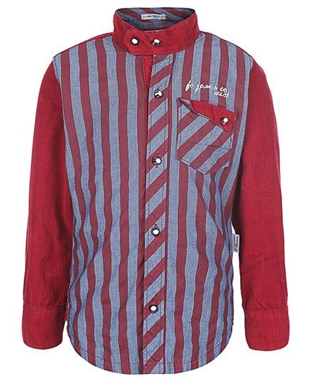 Finger Chips Full Sleeves Shirt - Stripes Print
