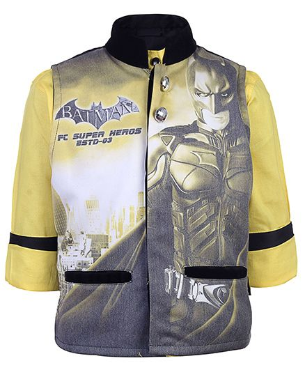 Finger Chips Full Sleeves Shirt With Waistcoat - Batman Print