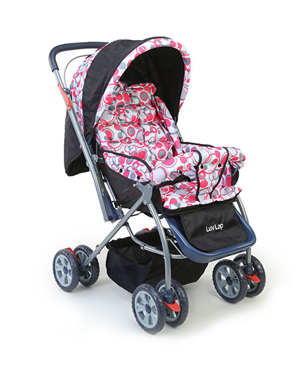 Luv Lap Baby StarShine Stroller Cum Pram Pink And Black - 18140