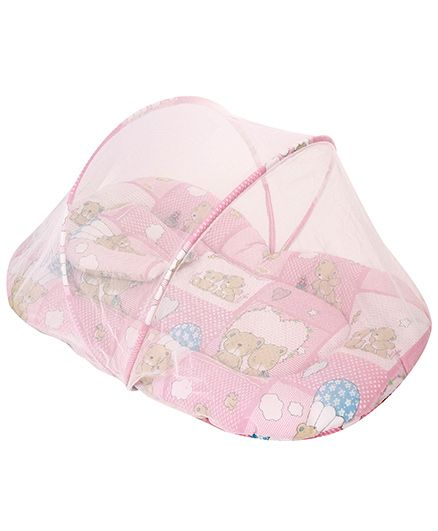 Sapphire Baby Bedding Set With Mosquito Net Pink - Teddy Print