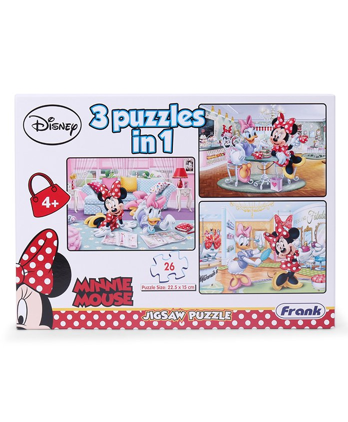 Frank Minnie Mouse 3 Puzzles In 1 Game