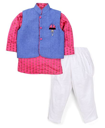 Active Kids Wear Jodhpuri Kurta And Pajama With Jacket Brooch Design - Blue And Pink