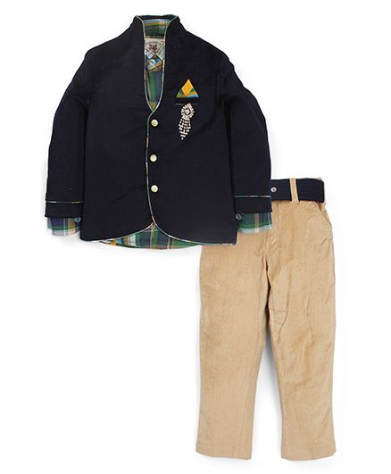 Active Kids Wear Shirt And Trouser With Blazer Brooch Design - Navy Blue