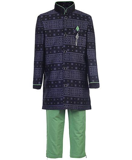 Active Kids Wear Kurta And Pajama Abstract Print - Black And Green