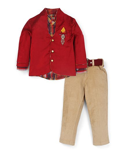 Active Kids Wear Shirt And Trouser With Blazer Brooch Design - Red