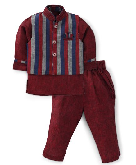 Active Kids Wear Jodhpuri Kurta And Pajama With Jacket Stripes - Maroon