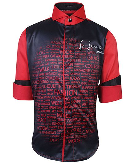 Finger Chips Full Sleeves Shirt Solid Sleeves Text Print - Red
