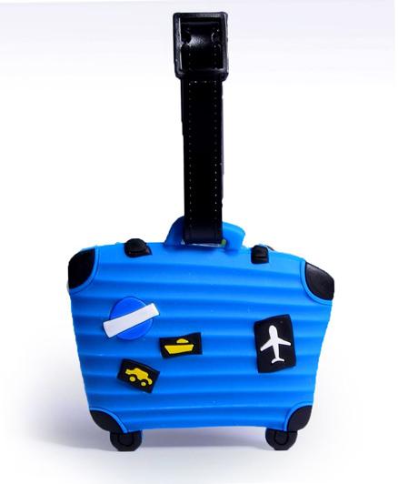 EZ Life Premium Silicon Luggage Tag - Blue Suitcase