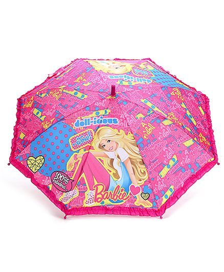 Barbie Kids Umbrella Multi Print - Multi Colour