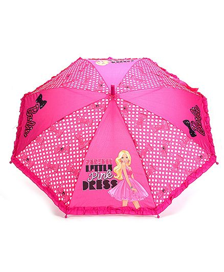 Barbie Kids Umbrella - Polka Dot And Bow Print