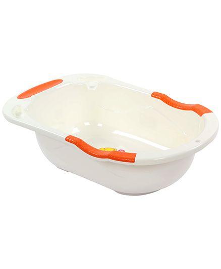 Fab N Funky Baby Bath Tub White And Orange - Elephant Print
