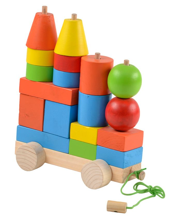 Skillofun Wooden Pull Along Construction Set - Multicolour
