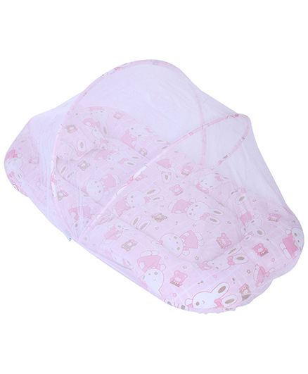 Babyhug Mosquito Net With Mattress And Pillow Pink - Bunny Print