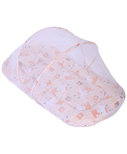 Babyhug Mosquito Net With Mattress And Pillow Peach - Bunny Print