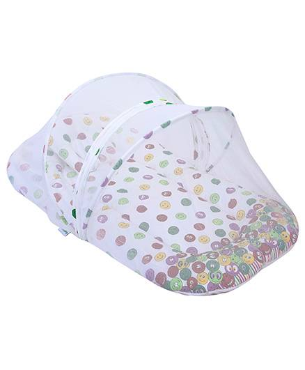 Babyhug Mosquito Net With Mattress And Pillow - Smiley Print