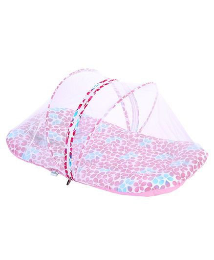 Babyhug Mosquito Net With Mattress And Pillow Pink - Floral Print